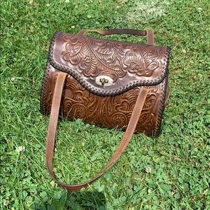 Vintage Hand Tooled Brown Leather Doctor Style Bag